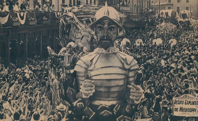 The float of Desoto the explorer rides over a sea of Mardi Gras revelers on St. Charles in New Orleans in this February, 1982 file photo. (AP Laserphoto)