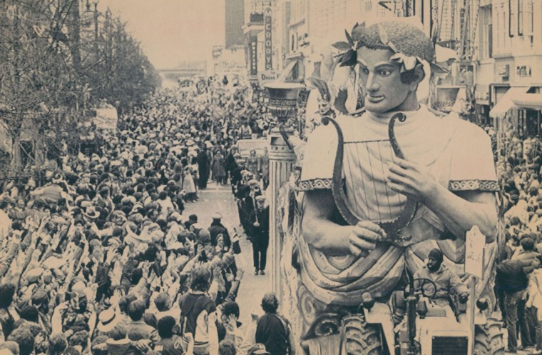 One of the floats in the Rex parade moves slowly down Canal Street in New Orleans on March 6, 1984. Rex, on of the last parades of the season, toured the streets to the cheers of thousands of visitors. (Bill Haber/AP Laserphoto)