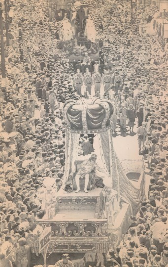 Rex, The King of Carnival, greets hundreds of thousands of spectators that jammed the streets of New Orleans on Tuesday, February 27, 1968 during the annual Mardi Gras celebration. The 25-float procession was the highlight of the full day of festivities. (AP Wirephoto)