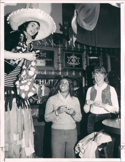 Queen of Whimsey Joanne Flint with Sandra Moore and Mary Harris at a Mardi Gras celebration on February 15, 1983 at Harbor Place. (William Hotz/Baltimore Sun)