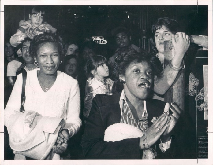 Dorothy Kent and Diane Johnson at a Mardi Gras celebration on February 15, 1983 at Harbor Place. (WIlliam Hotz/Baltimore Sun)