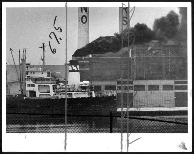 March 23, 1975: No fire here -- clouds of thick, black smoke appeared to cme from the Domino Sugar are ain South Baltimore yesterday morning. But there was no fire as the smoke originated in the stacks of the freighter.