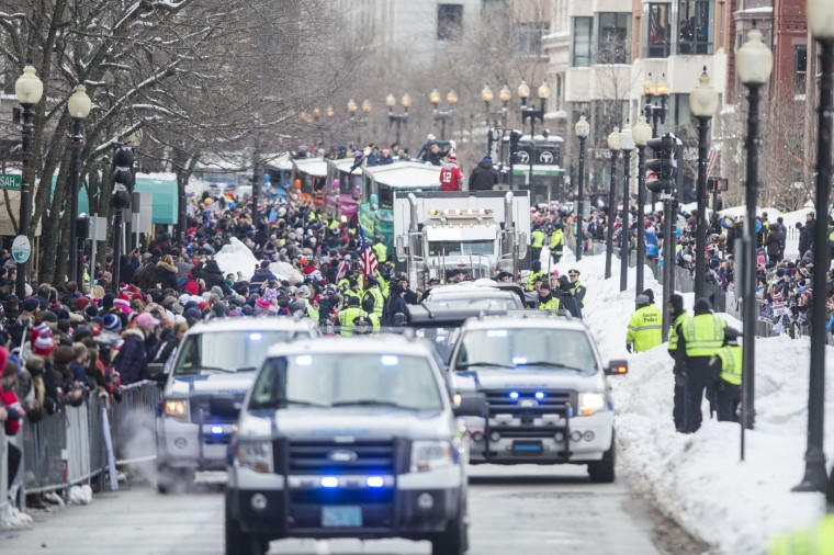 The New England Patriots victory parade makes it way down Boylston St. on February 4, 2015 in Boston, Massachusetts. (Photo by Scott Eisen/Getty Images)