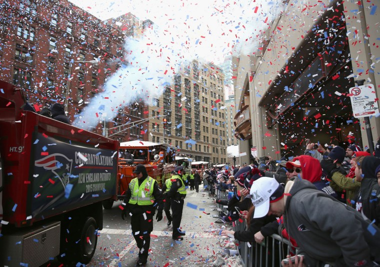 A general view of the New England Patriots Super Bowl victory parade on February 4, 2015 in Boston, Massachusetts. The Patriots defeated the Seattle Seahawks 28-24 in Super Bowl XLIX. (Photo by Billie Weiss/Getty Images)