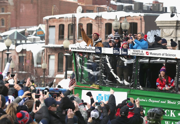 Malcolm Butler of the New England Patriots waves to fans during a Super Bowl victory parade on February 4, 2015 in Boston, Massachusetts. The Patriots defeated the Seattle Seahawks 28-24 in Super Bowl XLIX. (Photo by Billie Weiss/Getty Images)