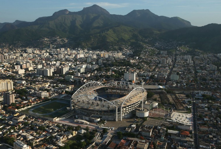 Olympic Stadium (C), a primary Rio 2016 Olympic Games venue, is shown on February 24, 2015 in Rio de Janeiro, Brazil. The city of Rio continues to prepare to host the upcoming Olympic Games which kickoff on August 5, 2016. (Photo by Mario Tama/Getty Images)
