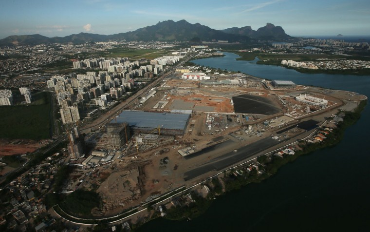 Construction continues at the Olympic Park for the Rio 2016 Olympic Games in the Barra da Tijuca neighborhood on February 24, 2015 in Rio de Janeiro, Brazil. The Olympic Park will occupy 1.18 million square meters hosting 16 Olympic disciplines and will be the heart of the games. (Photo by Mario Tama/Getty Images)