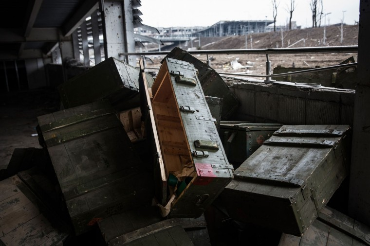 Used munition boxes sit scattered throughout the Donetsk airport property on February 26, 2015 in Donetsk, Ukraine. The Donetsk airport has been one of the most heavily fought over pieces of land between the Ukrainian army and pro-Russian rebels. (Photo by Andrew Burton/Getty Images)