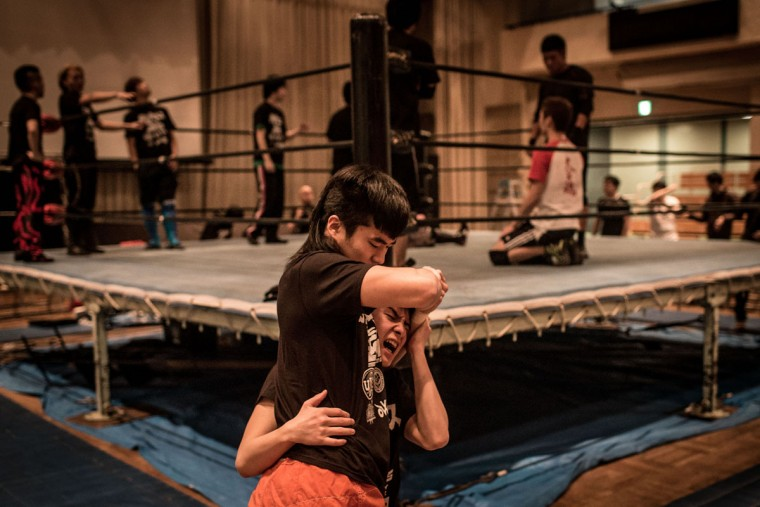 Student wrestlers practice prior to the start of the night's event during the Student Pro-Wrestling Summit on February 26, 2015 in Tokyo, Japan. (Photo by Chris McGrath/Getty Images)