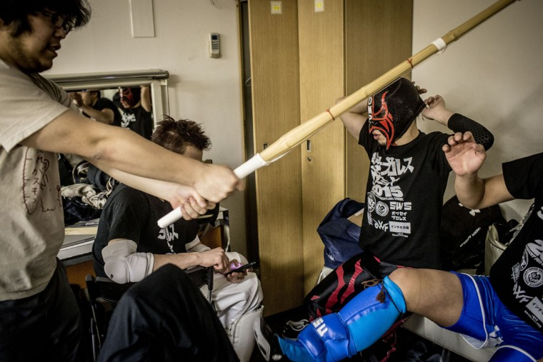 Student wrestlers practice in the dressing room prior to their fights during the Student Pro-Wrestling Summit on February 26, 2015 in Tokyo, Japan. (Photo by Chris McGrath/Getty Images)