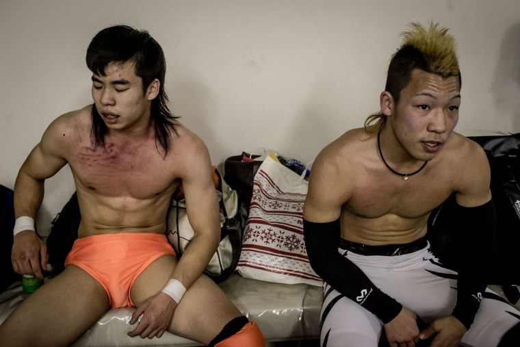 Student wrestlers recover after their team fight during the Student Pro-Wrestling Summit on February 26, 2015 in Tokyo, Japan. (Photo by Chris McGrath/Getty Images)