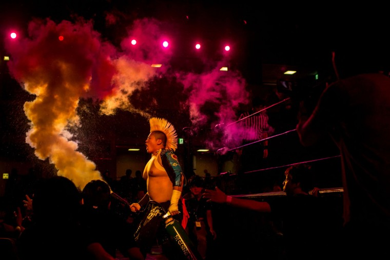 A student wrestler enters the arena for his fight during the Student Pro-Wrestling Summit on February 26, 2015 in Tokyo, Japan. (Photo by Chris McGrath/Getty Images)