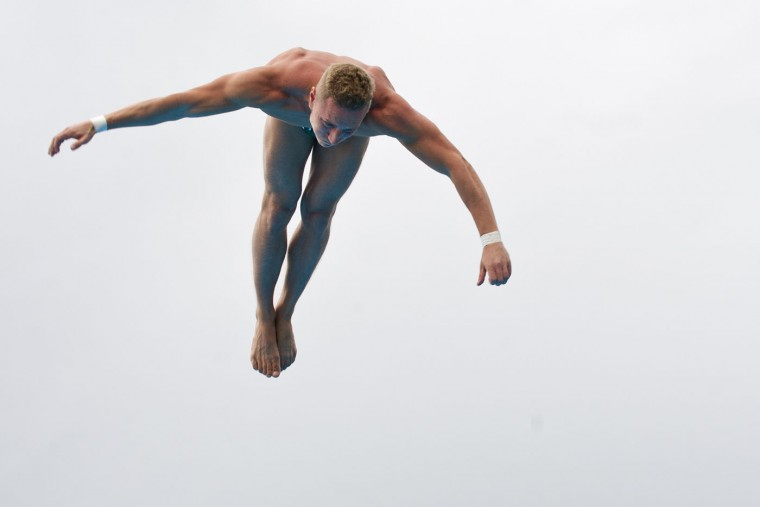 Polish Kris Kolanus dives from the 27-meter-high platform during the Red Bull Qualifier Cliff Diving World Series 2015 at the Pools Hernando Botero O'Byrne in Cali, department of Valle del Cauca, Colombia, on February 7, 2015. Luis Robayo/AFP/Getty Images