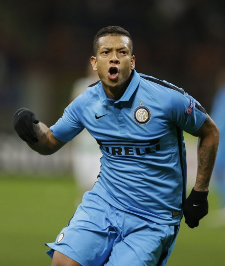 Inter Milan's Fredy Guarin celebrates after scoring during a Uefa Europa League, round of 32 second leg soccer match between Inter Milan and Celtic at the San Siro stadium in Milan, Italy, Thursday, Feb. 26, 2015. (Luca Bruno/AP Photo)