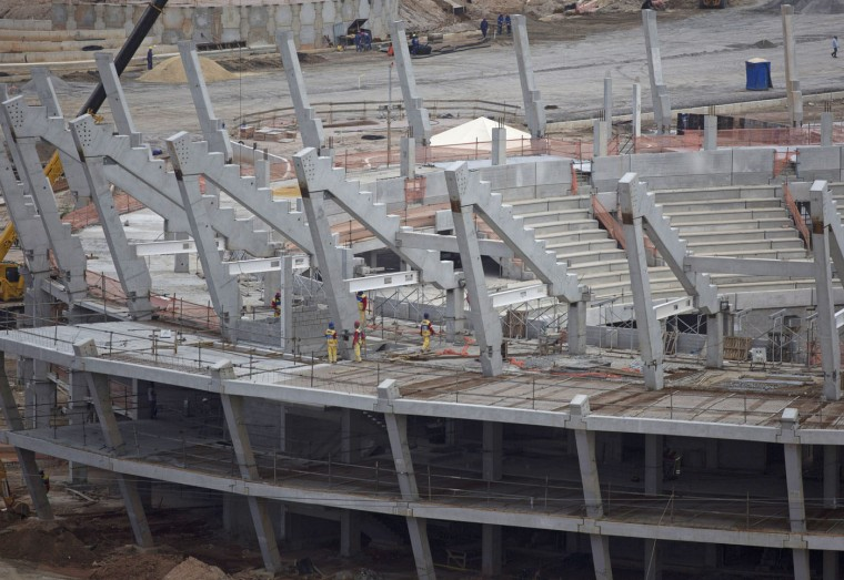 Construction continues at Olympic Park, which will host competitions during Rio's 2016 Olympics, in Rio de Janeiro, Brazil Thursday, Feb. 19, 2015. (AP Photo/Leo Correa)