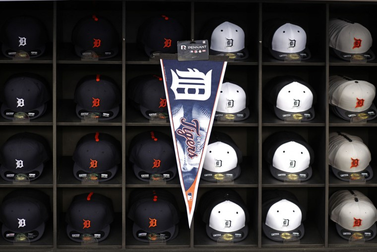 Detroit Tigers merchandise is on display in a merchandise trailer before a spring training baseball workout in Lakeland, Fla., Tuesday, Feb. 24, 2015. (AP Photo/Gene J. Puskar)