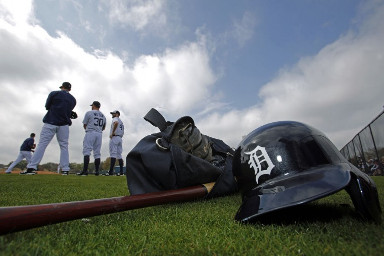 The Detroit Tigers hold a spring training baseball workout in Lakeland, Fla., Tuesday, Feb. 24, 2015. (AP Photo/Gene J. Puskar)