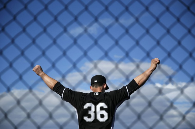 Chicago White Sox's Rob Brantly stretches before a spring training baseball workout Tuesday, Feb. 24, 2015, in Phoenix. (AP Photo/John Locher) Chicago White Sox's Rob Brantly stretches before a spring training baseball workout Tuesday, Feb. 24, 2015, in Phoenix. (AP Photo/John Locher)