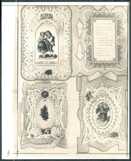 """Original cutline: """"The old Valentines represent two pages in the scrapbook kept by Ms. Emma Howell and Mrs. Helen Bayley Davis. These delicate, lace fringed cards are approximately three quarters of a century old. (Baltimore Sun, 1965)"""