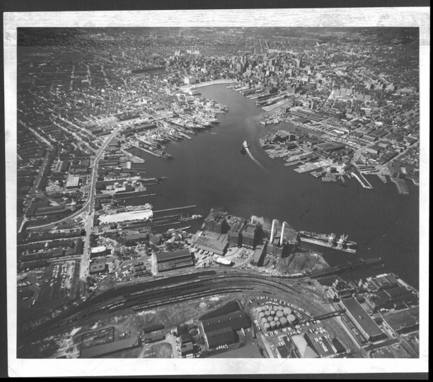 January 11, 1959: Baltimore City aerial view, photo by Richard Stacks.