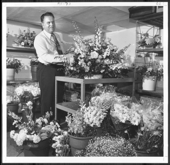 Dec. 17, 1978: The flower room at the White House. Mr. White and his three-man staff prepare an average of 62 arrangements every day, most of which are whisked back to the refriderator to be used again. (Sun photo by William L. Klender)