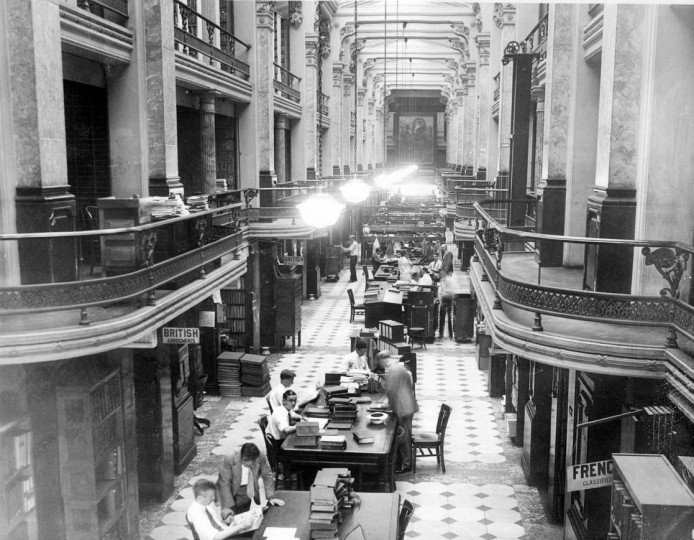 July 25, 1930: When a new record for all times has been established at the US Patent Office, issuing nearly 49,000 patents in the last fiscal year - with automotive and silk industries leading. Here, the interior of the Patent Office, where clerks work. (Underwood and Underwood file photo)