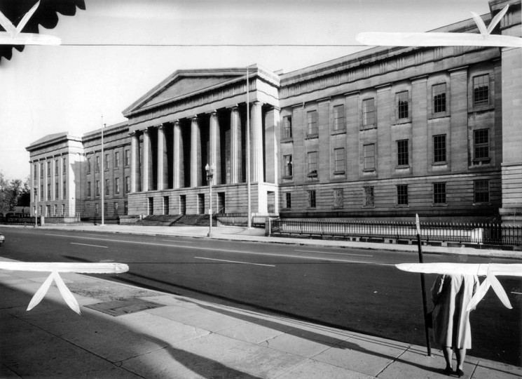 View of the G Street entrance to the Old Patent Office Building, an excellent example of the monumental Greek Revival style of the 1830's. Photo by Peter Fink.