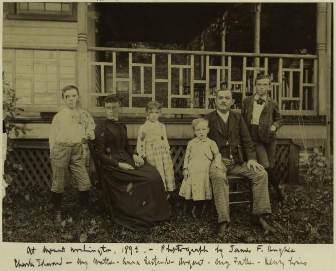 At family's summer house in Mount Washington, from left: Charles Edward, Anna Margareta Abhau Mencken (mother), Anna Gertrude, August, August Mencken, Sr., Henry Louis (12 years old), 1892.