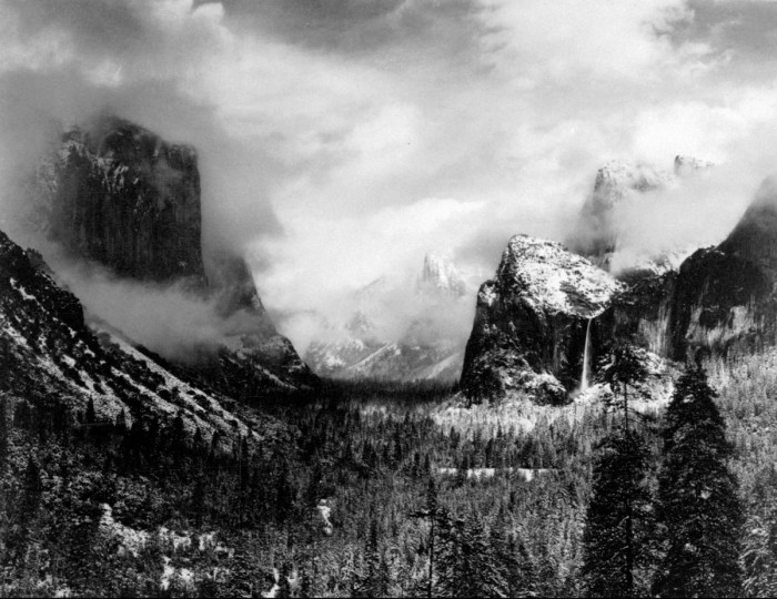 """Winterstorm, Yosemite National Park"" is the title of this photograph by Ansel Adams. (AP Photo/Ansel Adams)"