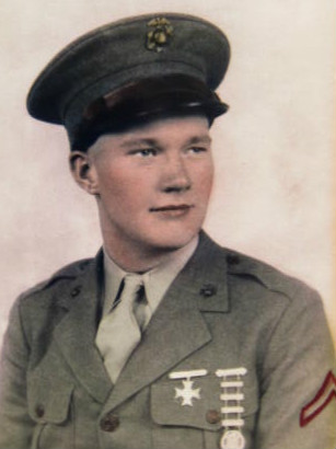 Leonard Pojunas after graduating USMC engineering school in Newport, RI., fall of 1943. He was 18.