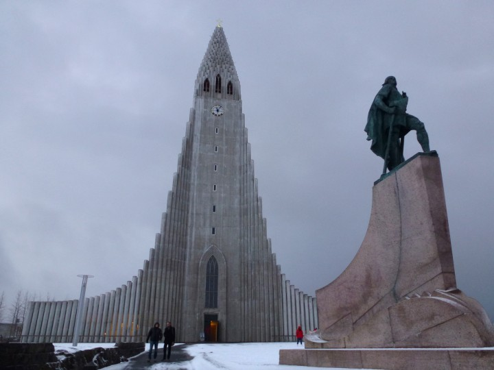 Hallgrímskirkja, a Lutheran church in downtown Reykjavík, Iceland. State Architect Guðjón Samúelsson's design of the church was commissioned in 1937. He is said to have designed it to resemble the basalt lava flows of Iceland's landscape. (Emma Harris/Baltimore Sun)