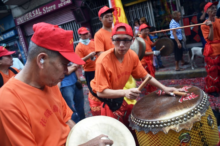 Members of the Panamanian-Chinese community celebrate the Chinese New Year in Panama City on February 19, 2015. (Rodrigo Arangua/AFP/Getty Images)