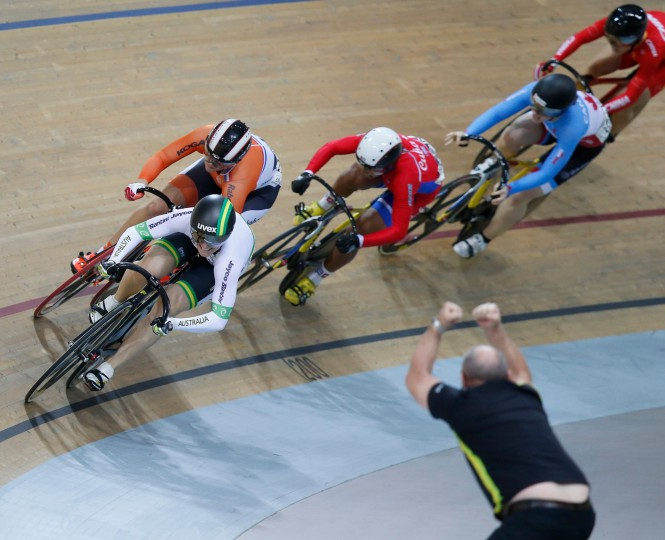 Anna Meares of Australia, is follow by Shanne Braspennincx of the Netherlands and Lisandra Guerra Rodriguez of Cuba, compete during the Women's Keirin race at the Track Cycling World Championships in Saint-Quentin-en-Yvelines, outside Paris, France. Anna Meares of Australia won gold, Shanne Braspennincx of the Netherlands won silver and Lisandra Guerra Rodriguez of Cuba. won bronze. (Michel Euler/AP)