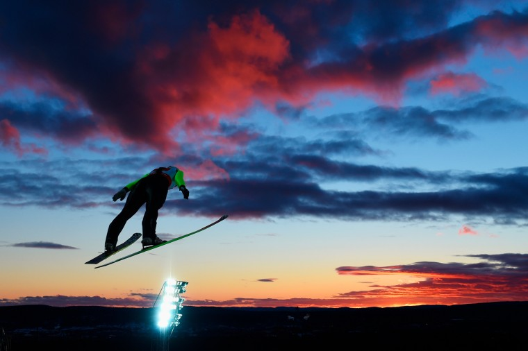 Irina Avvakumova of Russia competes in the Mixed Team HS100 Normal Hill Ski Jumping during the FIS Nordic World Ski Championships at the Lugnet venue in Falun, Sweden. (Matthias Hangst/Getty Images Europe)