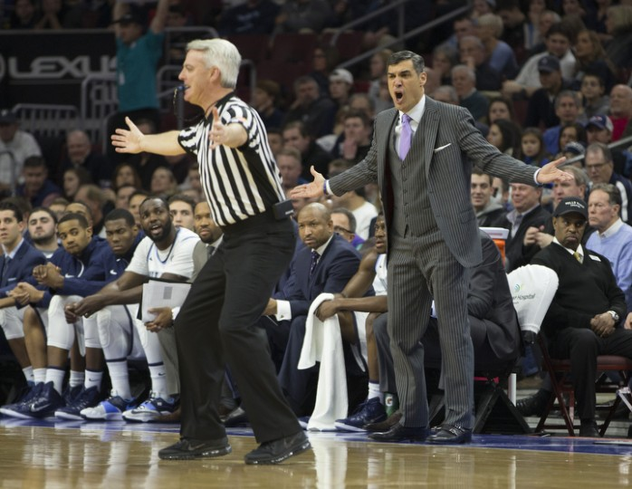 Head coach Jay Wright of the Villanova Wildcats reacts to a call during the game against the Georgetown Hoyas at the Wells Fargo Center in Philadelphia, Pennsylvania. (Mitchell Leff/Getty Images)