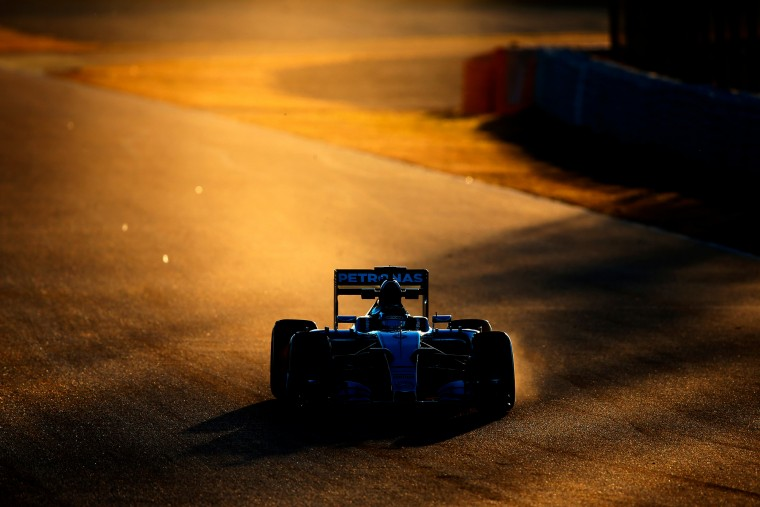 Nico Rosberg of Germany and Mercedes GP drives through the sirty side of the track during day four of Formula One Winter Testing at Circuit de Catalunya in Montmelo, Spain. (Dan Istitene/Getty Images Europe)