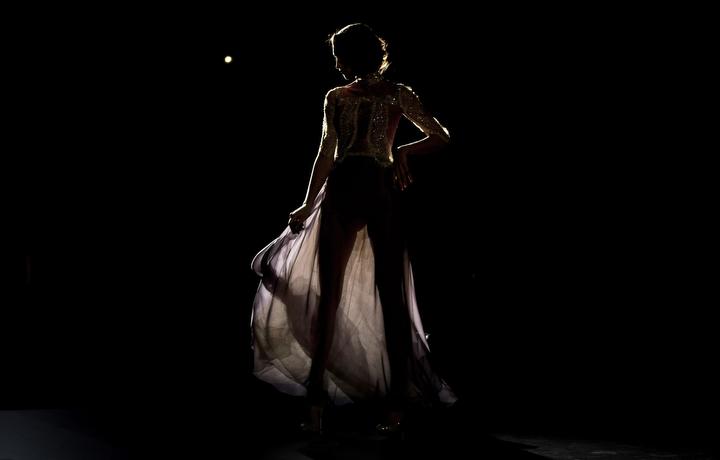 A model displays an Autumn/Winter design by Hannibal Laguna at Madrid's Fashion Week in Madrid, Spain. (Daniel Ochoa de Olza/Associated Press)
