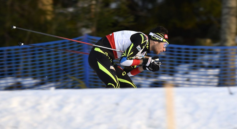 Third-placed Jason Lamy Chappuis of France skis during the men's 10kms Nordic Combined Ski event at the Nordic Skiing World Championships in Falun, Sweden, Friday, Feb. 20, 2015. (AP Photo / Anders Wiklund, TT)