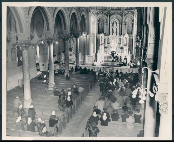 Sacred Heart church. Sun file photo, April 26, 1949.