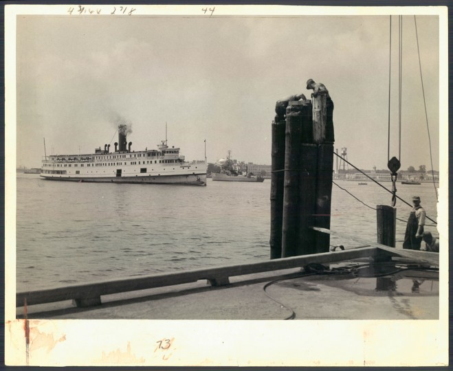 August 26, 1956 - The Old Bay Line steamer District of Columbia pulls into her Norfolk dock after an overnight run from Washington. She has 140 staterooms and can carry 38 automobiles. (A. Aubrey Bodine/Baltimore Sun)