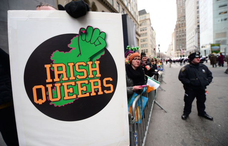 Gay rights supporters protest against the exclusion of the gay community from the St. Patrick's Day parade during the annual event in New York on March 17, 2014. (Emmanuel Dunand/AFP/Getty Images)