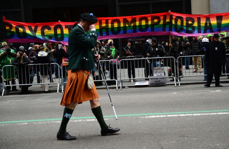 Gay rights supporters protest against the exclusion of the gay community from the St. Patrick's Day parade during the annual parade, in New York, March 17 2014. (Emmanuel Dunand/AFP/Getty Images)