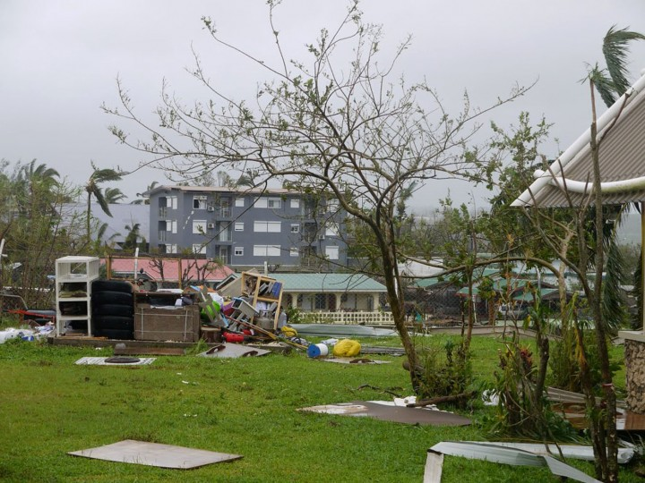 This handout photo taken on March 14, 2015 and released to AFP on March 15 by World Vision shows damage and scattered debris, caused by Cyclone Pam, in the Vanuatu capital of Port Vila. Vanuatu's president made an emotional appeal for international assistance after his island nation was hit by a calamity of a cyclone, wreaking devastation in what is feared to be one of the region's worst weather disasters. Vanuatu declared a state of emergency on March 15, saying six people were confirmed dead as a result of the monster storm with the toll expected to rise. (World Vision/AFP/Getty Images)