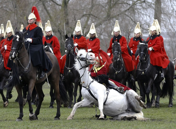 A trumpeter falls off his horse as the Household Cavalry Mounted Regiment parades in Hyde Park in London, Thursday, March 26, 2015. The regiment was undergoing their annual inspection to validate their ability to conduct state ceremonial duties for the year. 160 horses were paraded accompanied by the mounted Band of the Life Guards and Band of the Blues and Royals.