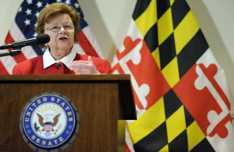 Sen. Barbara Mikulski, D-Md., the longest-serving woman in the history of Congress, speaks during a news conference announcing her retirement after her current term, in the Fells Point section of Baltimore, Monday, March 2, 2015. (AP Photo/Steve Ruark)