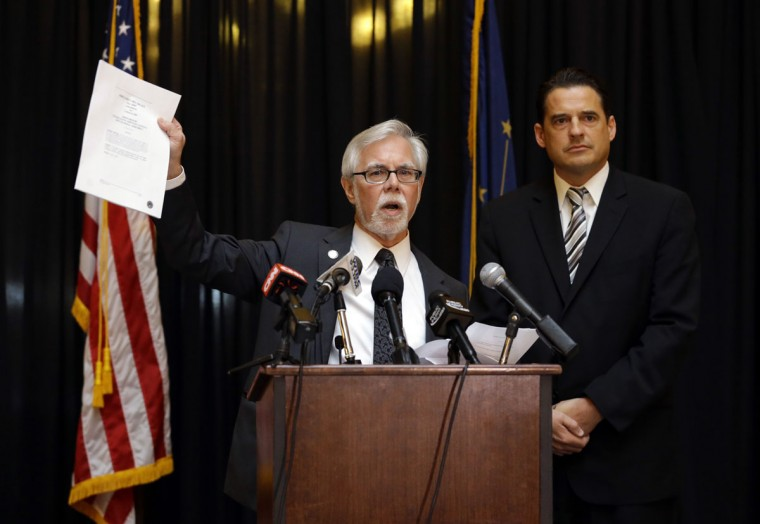 Indiana Senate Democratic Leader Tim Lanane, left, D-Anderson, and Indiana House Democratic Leader Scott Pelath, D-Michigan City, call for the repeal of the Indiana Religious Freedom Restoration Act during a news conference at the Statehouse in Indianapolis, Monday, March 30, 2015. Republican legislative leaders say they are working on adding language to a new state law to make it clear that it doesn't allow discrimination against gays and lesbians. (AP Photo/Michael Conroy)