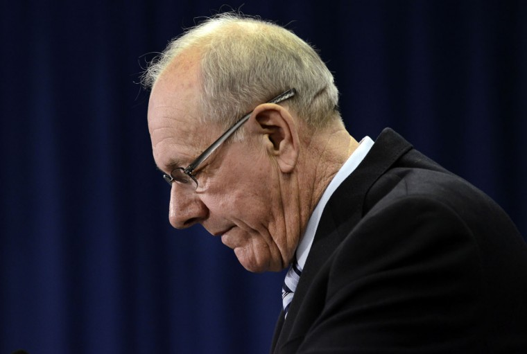 "Syracuse coach Jim Boeheim pauses during a news conference Thursday, March 19, 2015, in Syracuse, N.Y. In an hour-long press conference on Thursday ahead of top teams starting in the NCAA Tournament, Boeheim said that 2018 is the ""right time"" to retire, but acknowledged that next season could be his last as he and the university appeal punishments for academic and benefits violations. (AP Photo/Heather Ainsworth)"