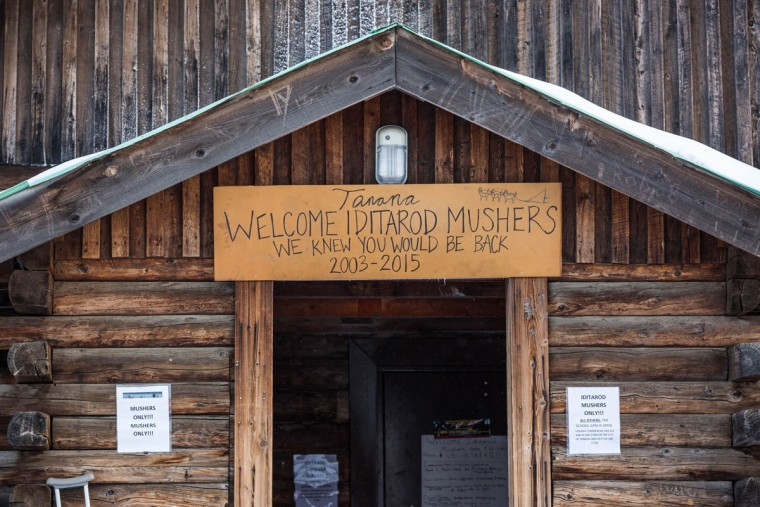 A sign welcomes mushers to the Tanana, Alaska, checkpoint during the Iditarod Trail Sled Dog Race, Wednesday, March 11, 2015. This is only the second time that the race has come through the Yukon River village, the first time being 2003. (AP Photo/Alaska Dispatch News, Loren Holmes)