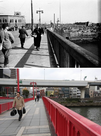 This combo of two photos shows initial destruction and reconstruction after the March 10, 1945 Tokyo firebombing. The top photo taken on March 19, 1945 shows an incendiary bombed-devastated Azuma Bridge area after the firebombing. The bottom photo taken 70 years later on March 7, 2015, shows people walk on Azuma Bridge in Tokyo. (AP Photo/The Center of the Tokyo Raids and War Damage, Eugene Hoshiko)