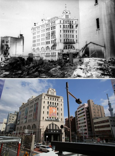 This combo of two photos shows initial destruction and reconstruction after the March 10, 1945 firebombing. The top photo taken on March 19, 1945 shows an incendiary bombed Matsuya Asakusa department store, center, after Tokyo firebombing. The bottom photo taken 70 years later on March 7, 2015, shows still-in-use Matsuya department store in Asakusa district in Tokyo. (AP Photo/The Center of the Tokyo Raids and War Damage, Eugene Hoshiko)